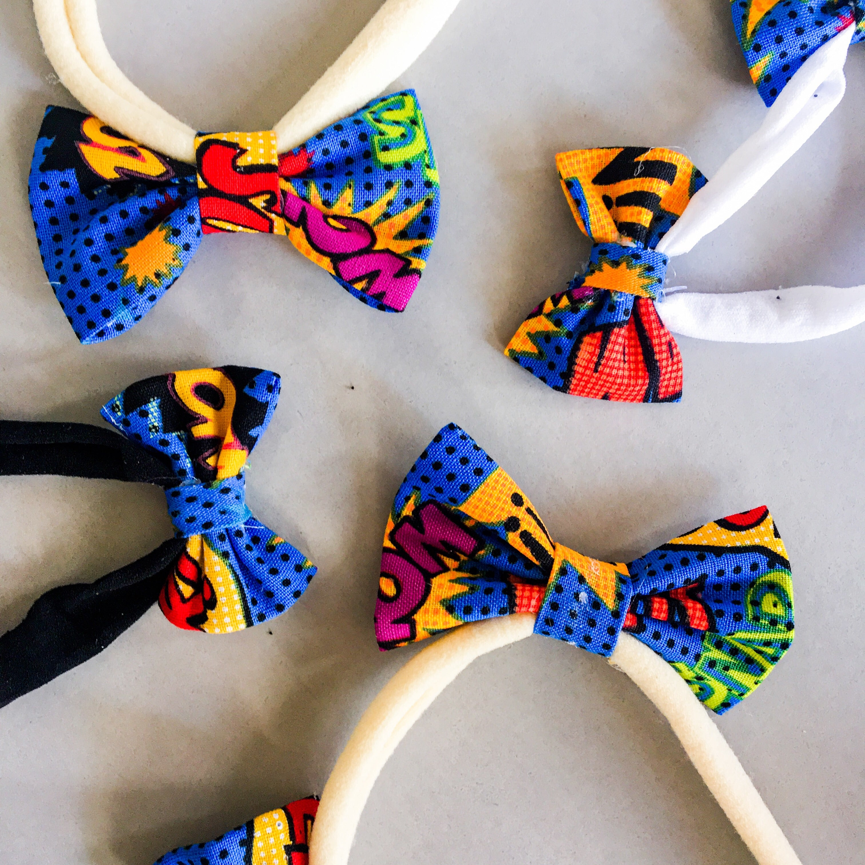 Large dog superhero double bow headband