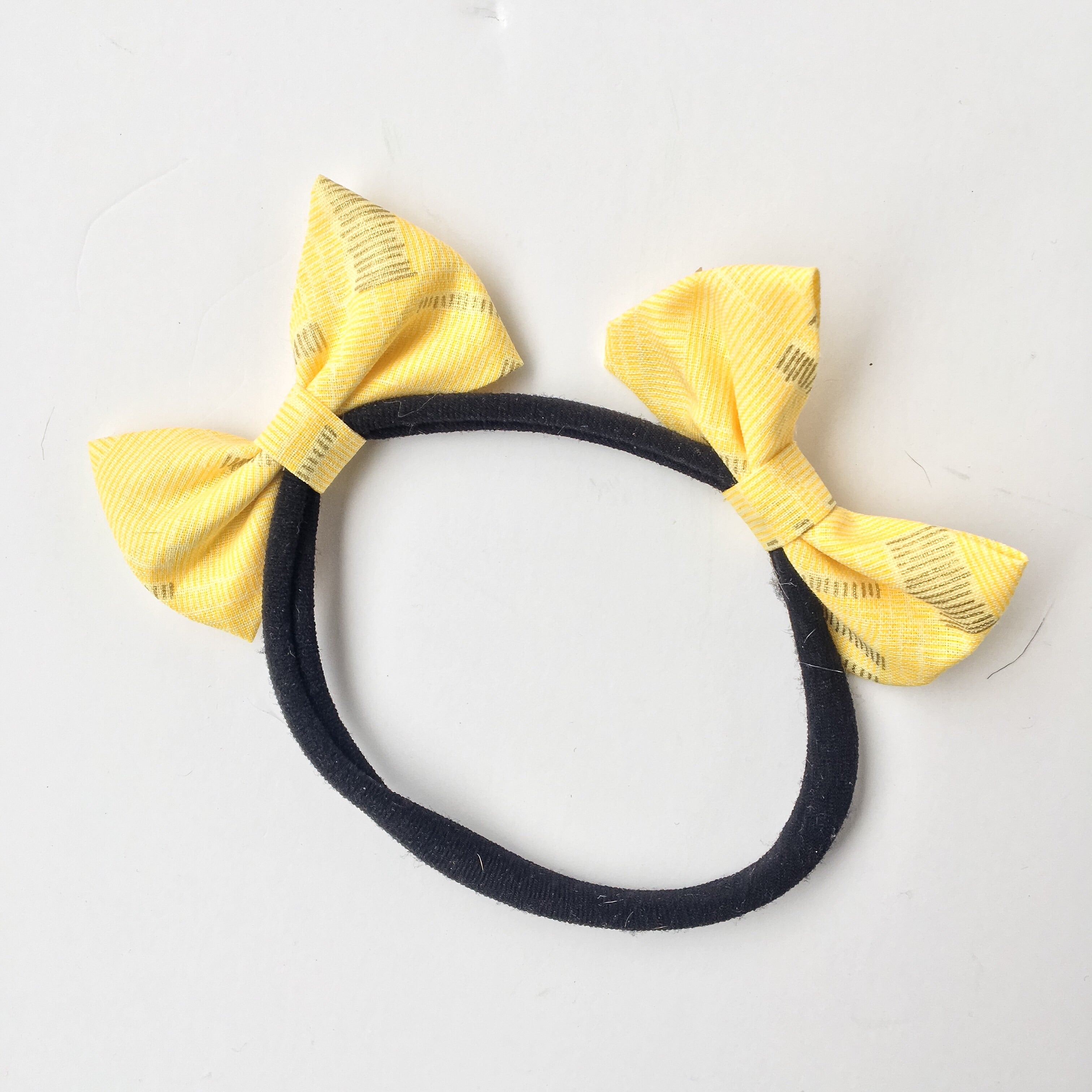 Yellow with gold accents double bow headband