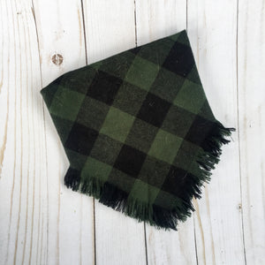 Green and black check blanket scarf