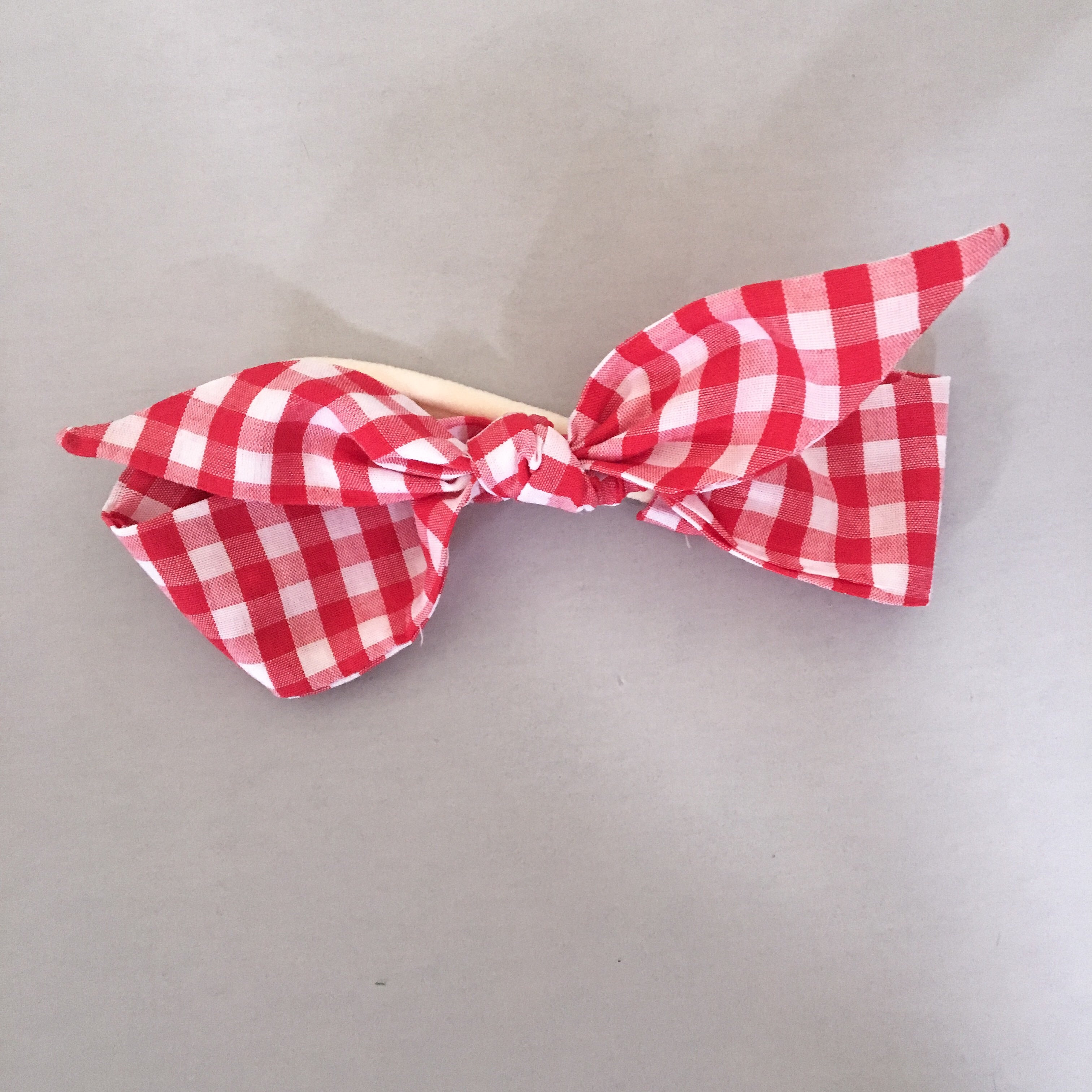 Red gingham Rosie headband