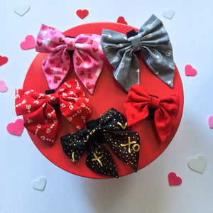 Flocked red hearts sailor bow