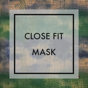 Blue and Green tie dye Close fit face mask with nylon ear loops
