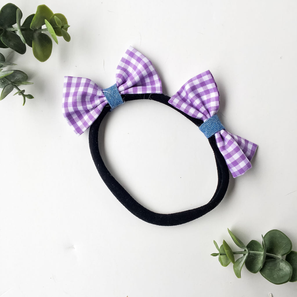 Purple gingham with chambray contrast double bow headband