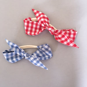 Blue gingham Rosie headband