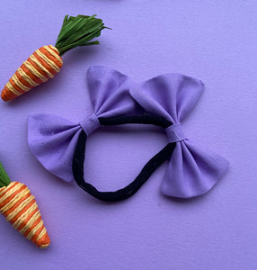 Lavender double bow headband