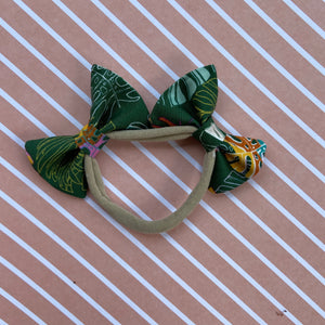 Tropical leaves double bow headband