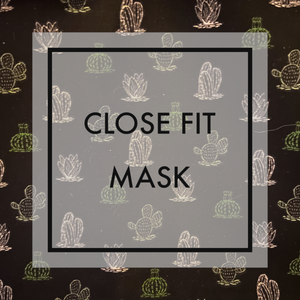 Black cactus Close fit face mask with nylon ear loops