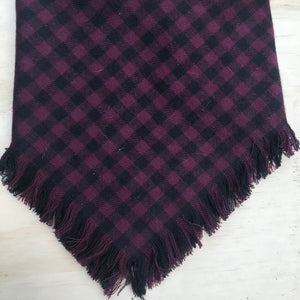 Burgundy and black plaid blanket scarf