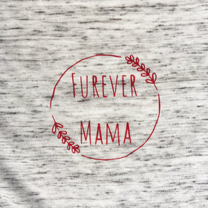 Furever Mama boxy half sleeve Granite with berry decal