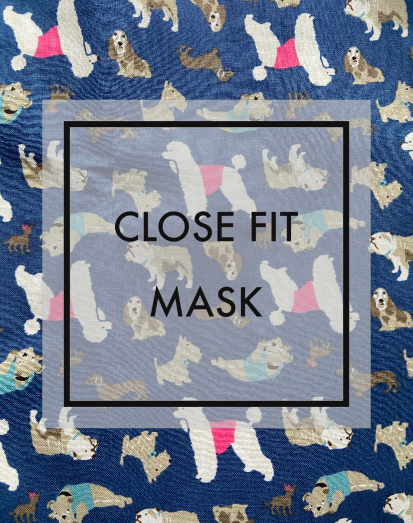 Close fit face mask DOGS with nylon loop ear straps