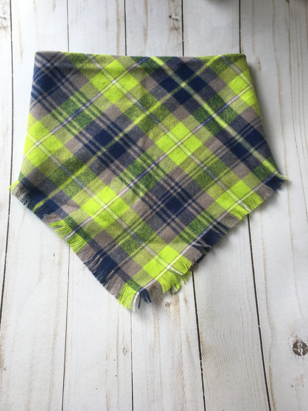Doggie and me: Tennis ball green plaid blanket scarf