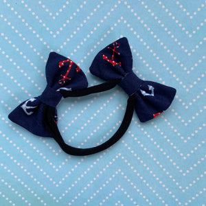 Navy anchors double bow headband