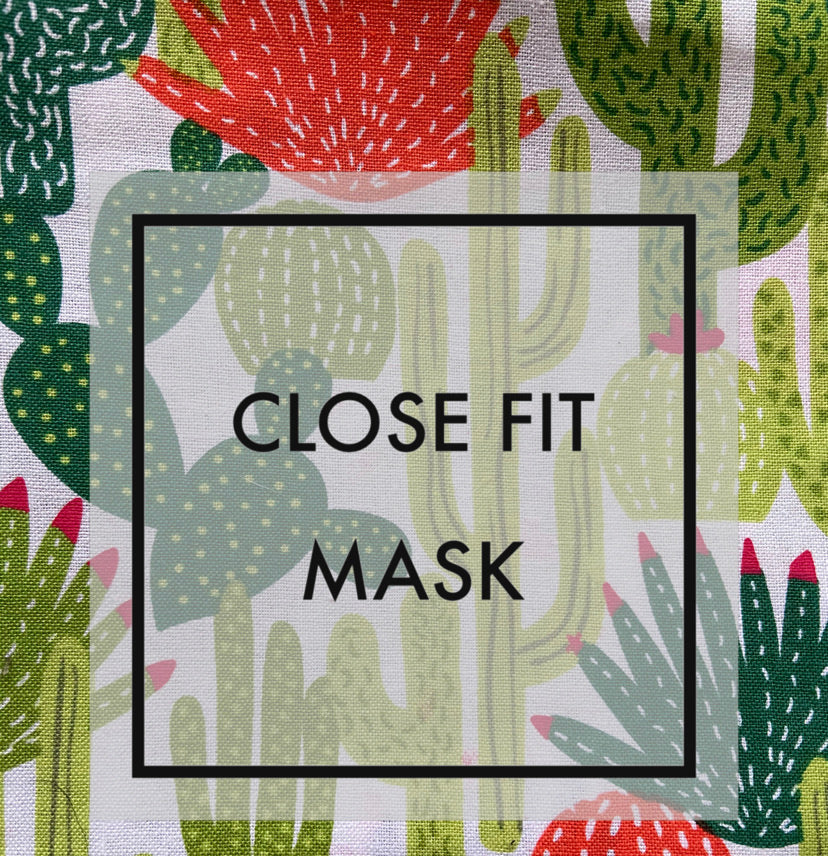 Close fit face mask cactus with nylon loop ear straps