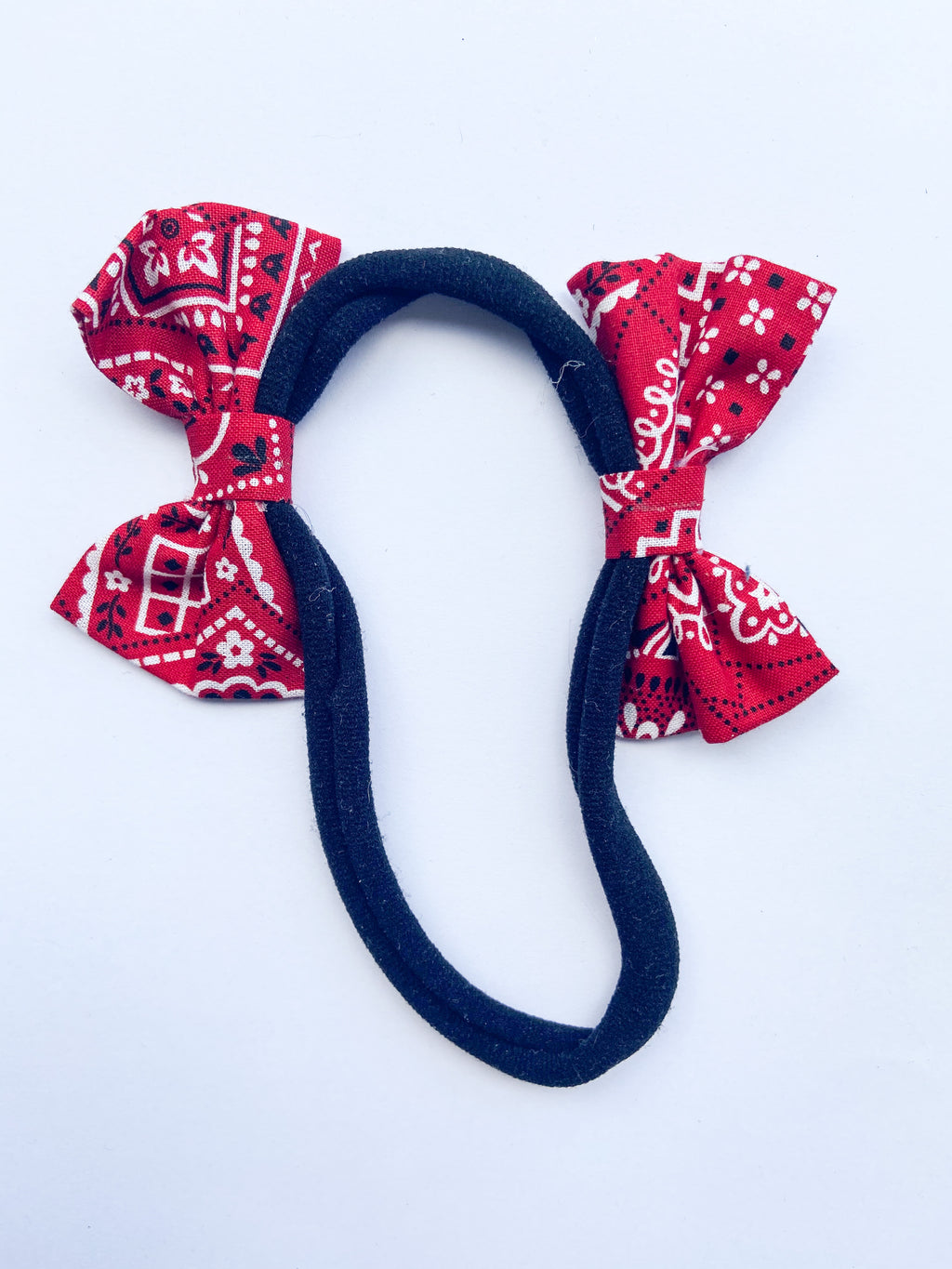 Red kerchief double bow headband