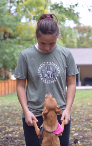 Unisex thankful grateful blessed paw print shirt in heathered green