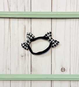 Drama queen houndstooth double bow headband