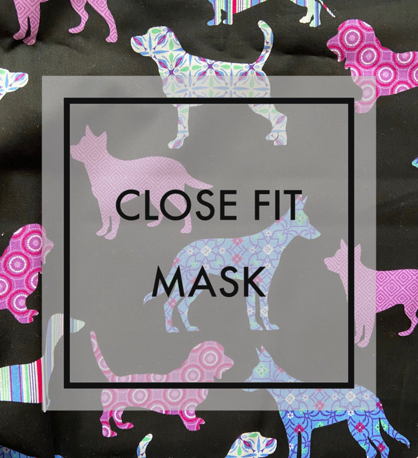 Close fit face mask floral dog with nylon ear loops