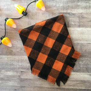 Doggie and me: Orange and black Halloween blanket scarf