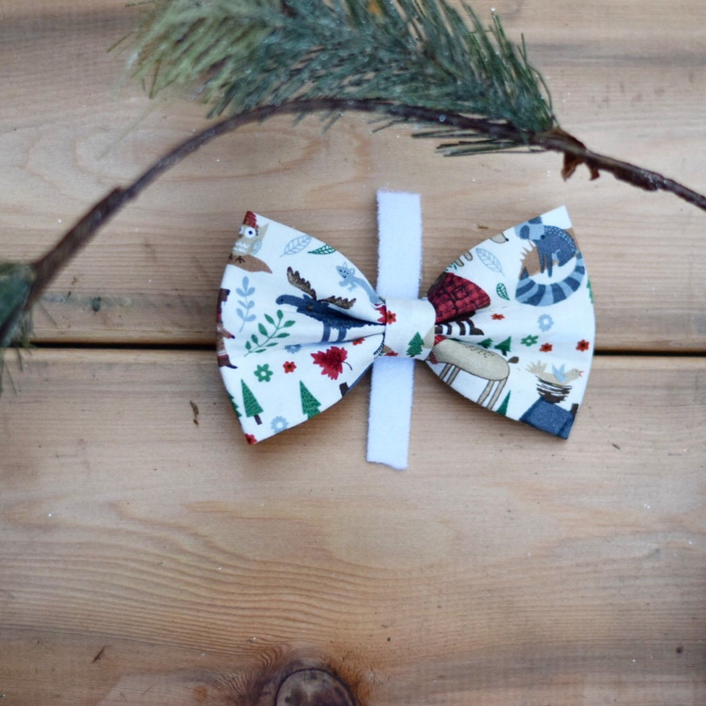 Woodland creatures in Buffalo plaid bow tie