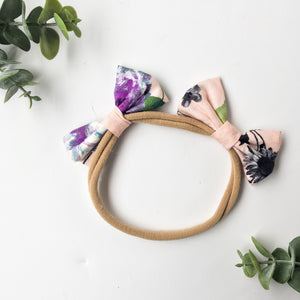 Blush floral double bow headband
