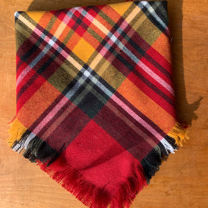 Orange red and green blanket scarf