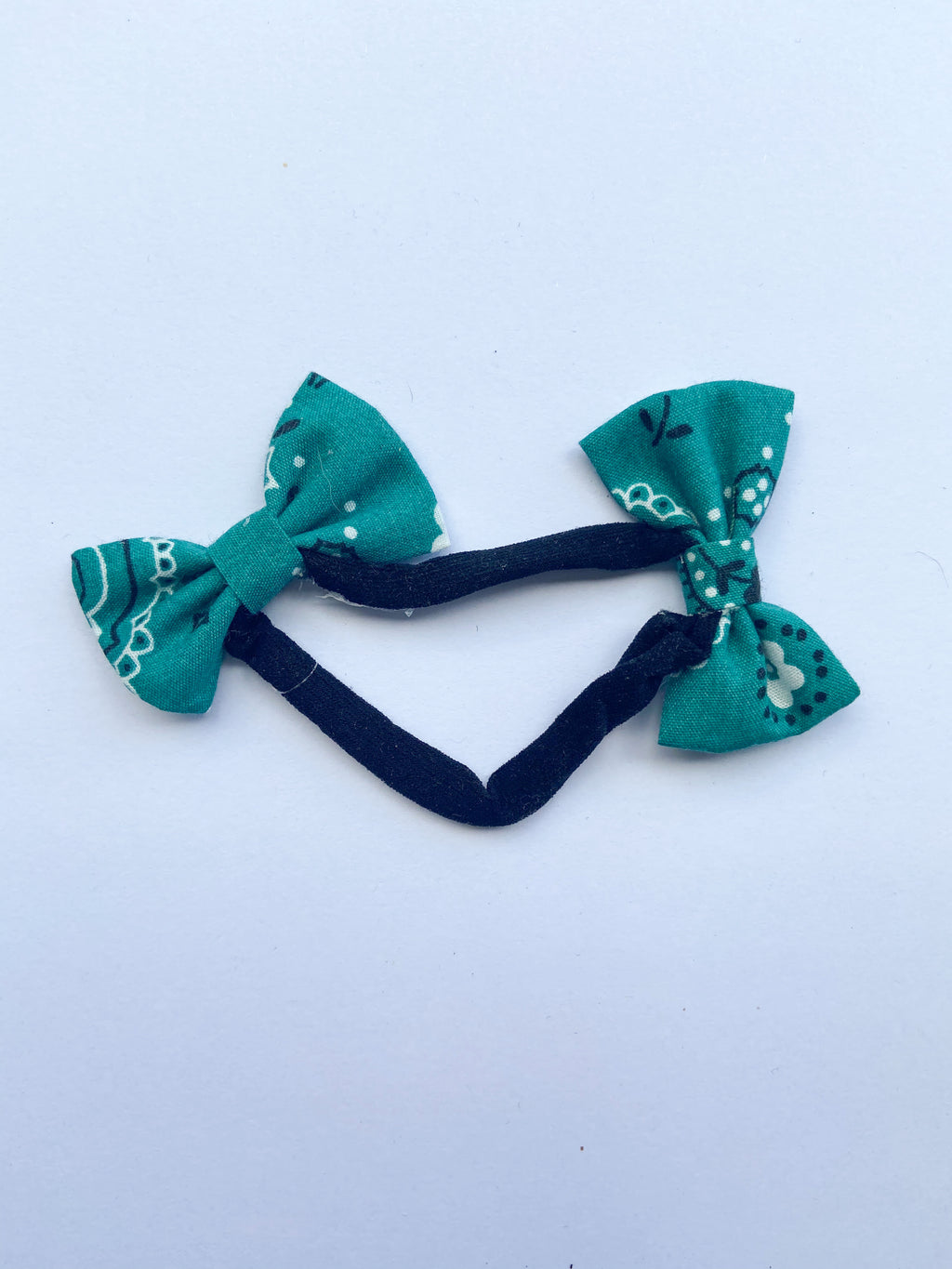 Teal kerchief double bow headband