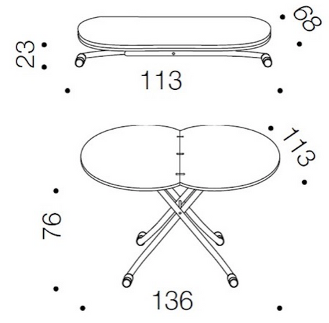 Spaceman Heart extending table dimensions