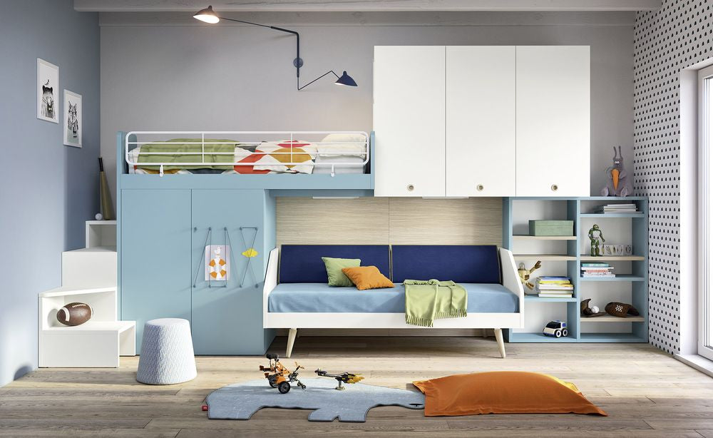 Spaceman Kids bridging wardrobe bookcase loft beds sofa bed