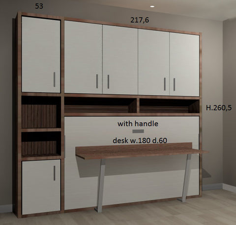 3D image of customer order for Slumberdesk Super single with cabinets