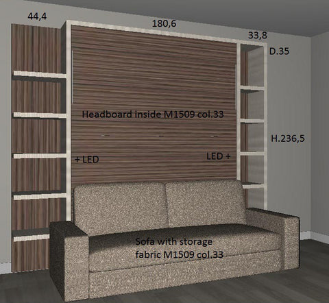 3D image of customer order - Slumbersofa Classic with shelving