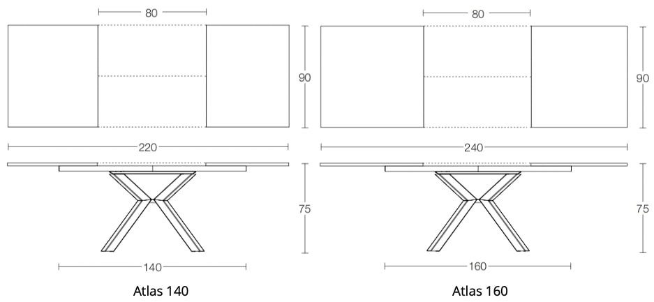 Spaceman Atlas extending dining table dimensions 1