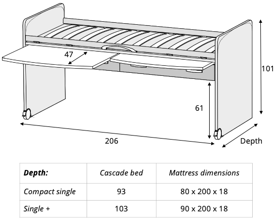 Spaceman Cascade kids beds dimensions
