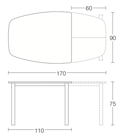 Spaceman Morph extending dining table dimensions