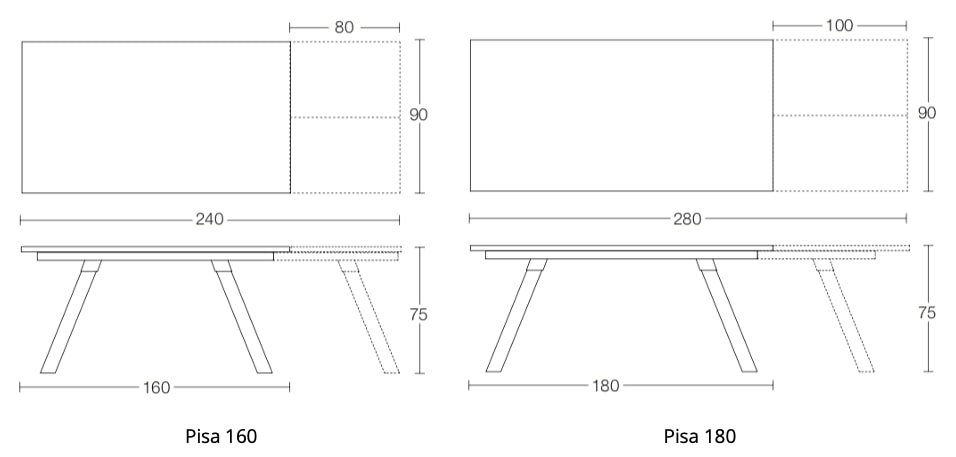 Spaceman Pisa extending dining table dimensions