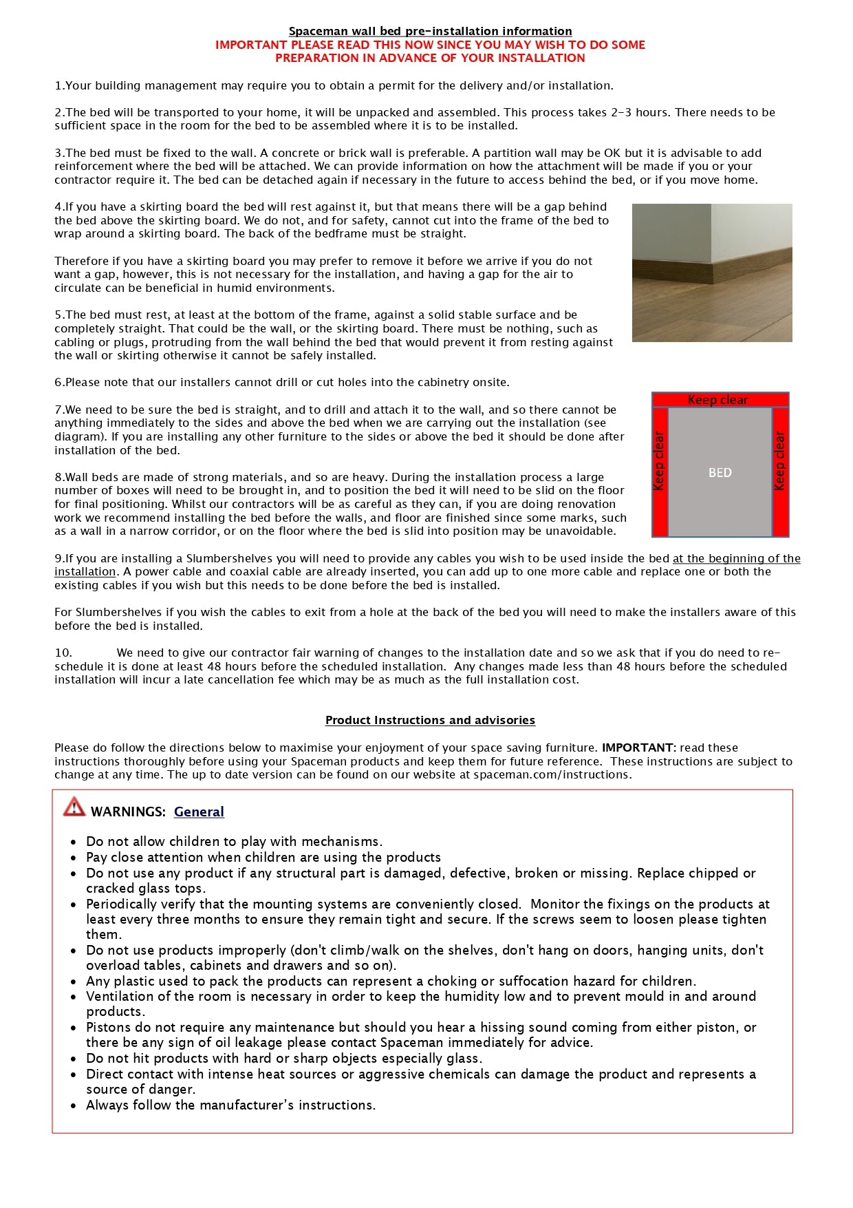 Spaceman Singapore English Instructions for wall beds and multi-functional dining tables