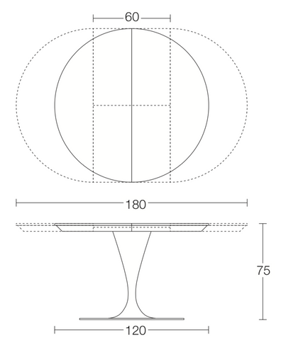 Spaceman Tulip expanding dining table dimensions