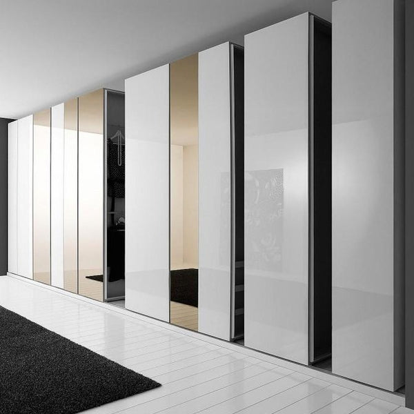 Concertina space saving walk-in wardrobe
