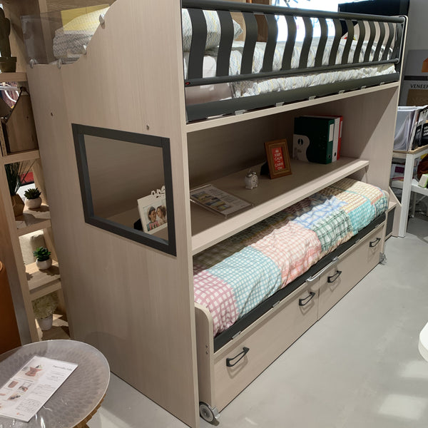 SALE: Zigzag ~ EX-DISPLAY kids bunk beds with mobile study desk - Spaceman HK