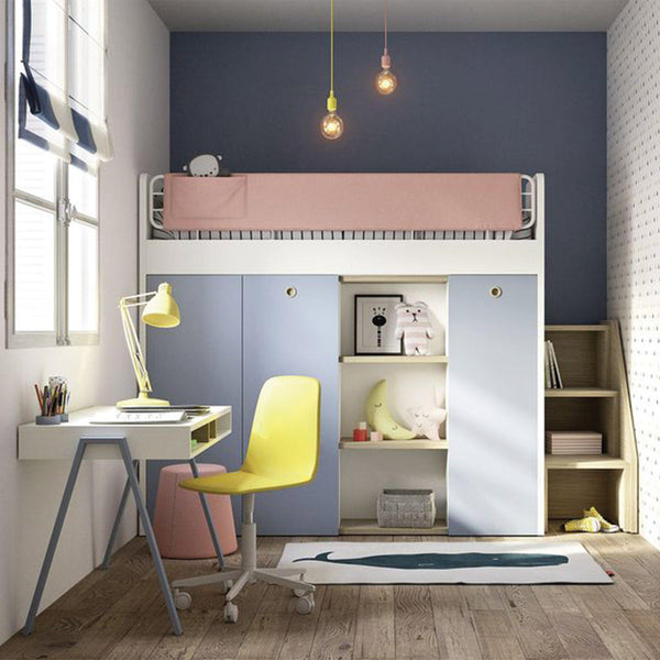 stack kids loft bed desk wardrobes rh spaceman com bunk bed with a desk and stairs bunk bed with a desk and stairs
