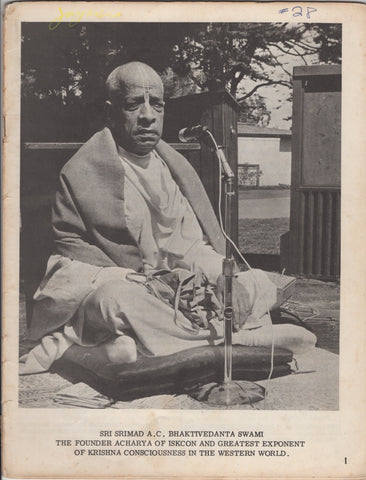 Vintage Rare Back to Godhead Hare Krishna Magazine From 1969 Number 28