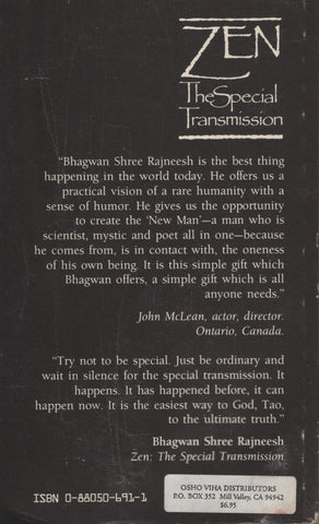 Zen: The Special Transmission by Osho Bhagwan Rajneesh 1st Edition