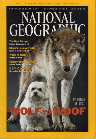 National Geographic Magazine Wolf to Woof January 2002