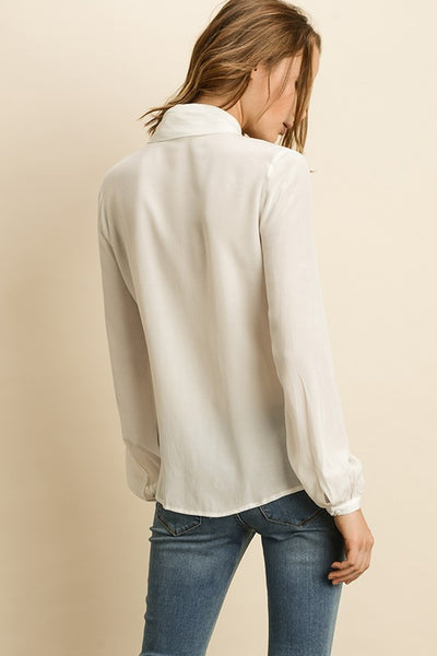 Neck Tie Button Down Blouse