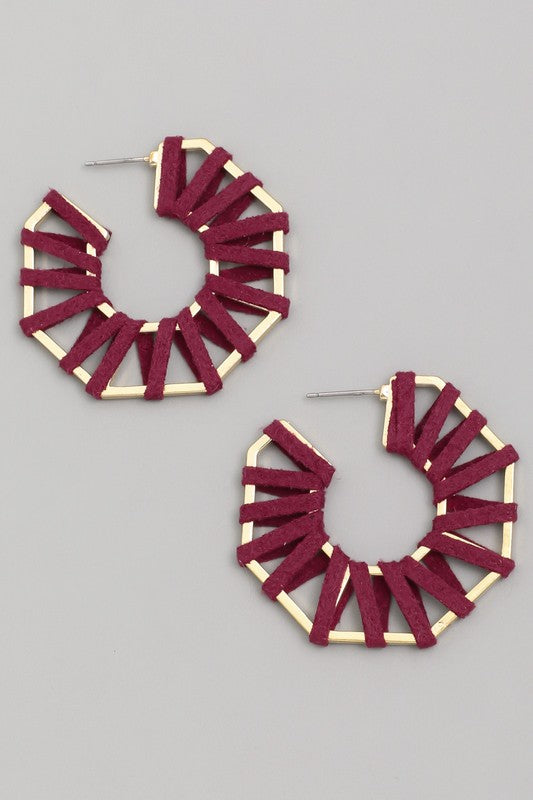 Wrapped Octagon Earrings