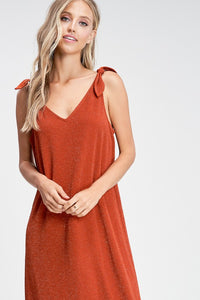 Shoulder Tie Midi Dress