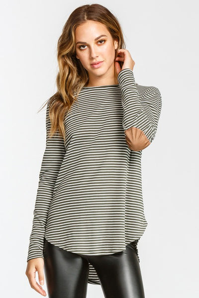 Stripped Elbow Patch Top