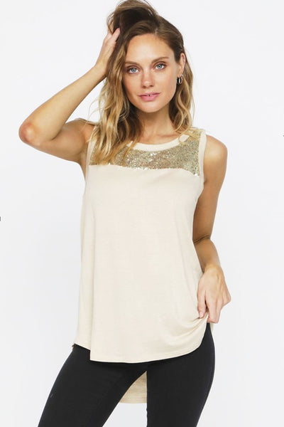 Sleeveless Sequin Knit Top