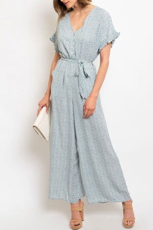 Spring Simple Floral Jumpsuit