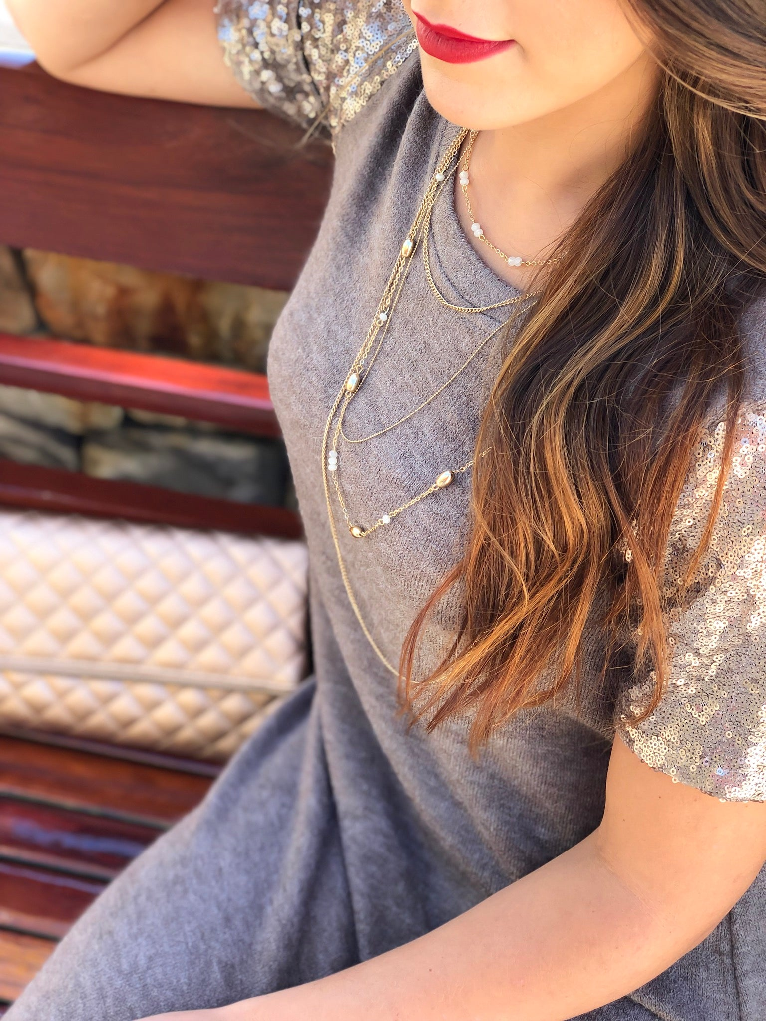 Gold & White Bead Layered Necklace