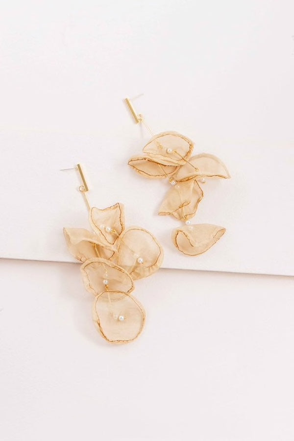 Tan Petal Drop Earrings